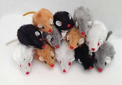 Cat Toy SMALL FUR MOUSE kitten toy cat toy fur mouse - order 4 get 5th free